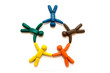 Multicolored clay people in circle isolated