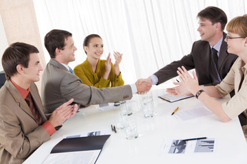 Image of confident partners shaking hands