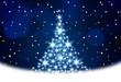 Christmas tree illustration on blue background