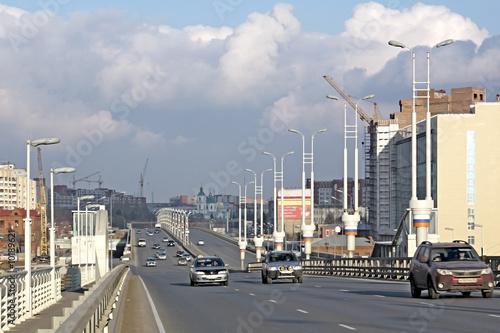 New bridge across the river Irtish. City Omsk.