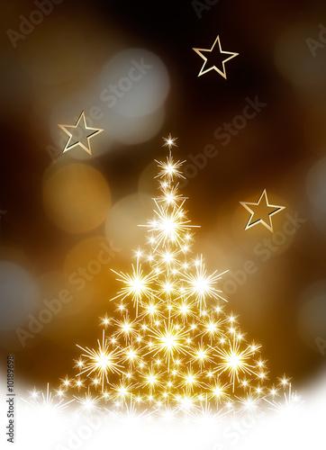 Christmas tree illustration on golden background