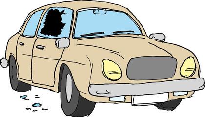 aufgebrochenes Auto