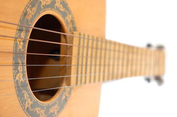 Strings and sound hole of guitar