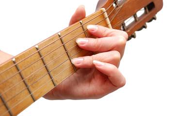 Woman plays spanish guitar