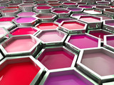 fine image 3d of red tone hexagon color paint poster