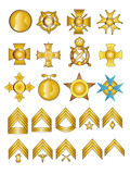 Military Badges Medals and Rank Chevrons Vector Gold