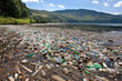 Leinwanddruck Bild - very important plastic and trash pollution on beautiful lake