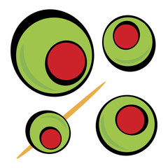 A variety of green olives.  Great clip art for a martini menu