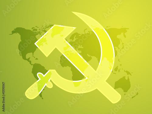 poster of Soviet USSR hammer and sickle political symbol