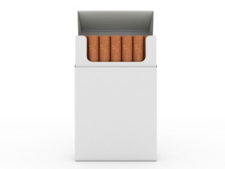 Open pack of cigarettes with cigarettes