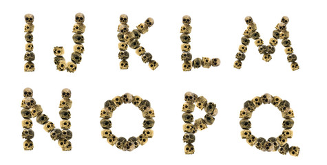 isolated fonts made with skulls. I to Q. Has clipping path
