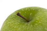 detail of a granny smith  apple isolated on white background poster