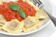 Ravioli pasta with tomato sauce