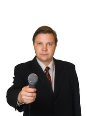 Journalist with microphone isolated on white background