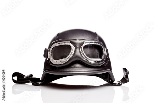 canvas print picture old-style us army motorcycle helmet with goggles