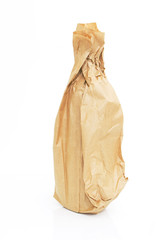 brown paper bag with a bottle isolated