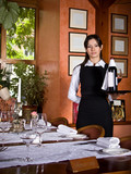 The girl the waiter with a tray poster
