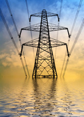 Silhouette of electricity pylon with flood water effect