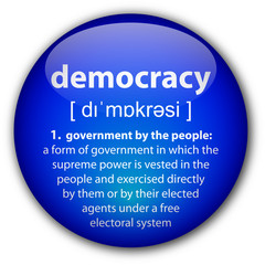 """Democracy"" button with definition"