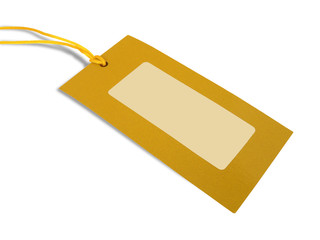 Blank tag tied with yellow string on white background