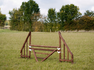 An equestrian show jumping fence in a paddock
