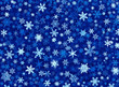 A snowflake illustration on a textured blue background.