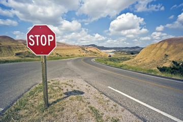 Stop sign in Badlands National Park