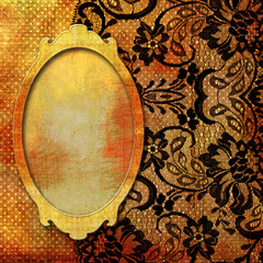 retro lacy background with frame