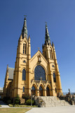 Front Facade of a Beautiful Catholic Church poster