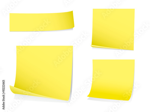 Sticky memo notes with shadows