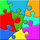 Colorful psychedelic puzzle poster