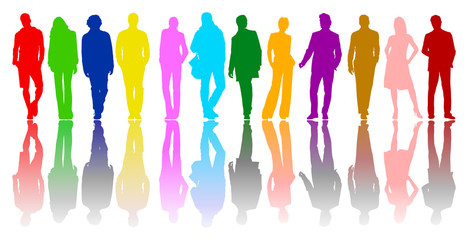 Colored silhouettes of boys and girls