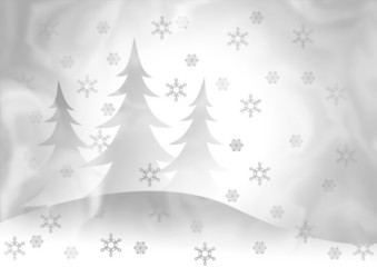The background showing fur-trees under a snowfall.