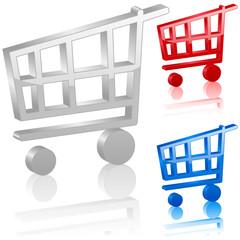 3D shopping cart symbol