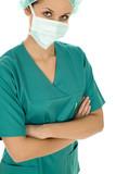 Female doctor in scrubs poster