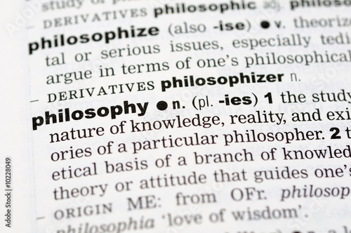 A close up of the word philosophy from a dictionary