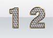 ラインストーンの数字 1 2