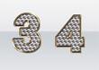 ラインストーンの数字 3 4