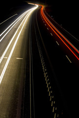 A shot of a highway at night