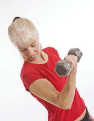 Middle-aged woman working out