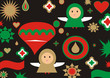christmas tree card. felicitacion arbol de navidad retro