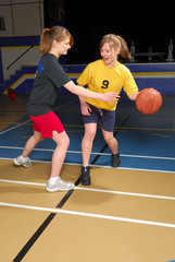 Two female basketball players scrimmage in school gym.