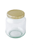 Empty glass container with lid on white background poster