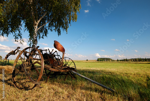 Old agricultural machine, fertilizer, recultivation