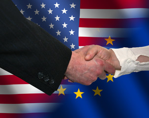 handshake over American and EU flags illustration