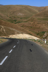 The mountain highway from Armenia to Georgia