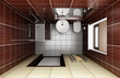 modern bathroom with brown tiles. top view