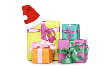 Christmas presents, shadow on white background. Shallow DOF