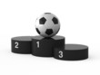 Isolated black podium and soccer ball.