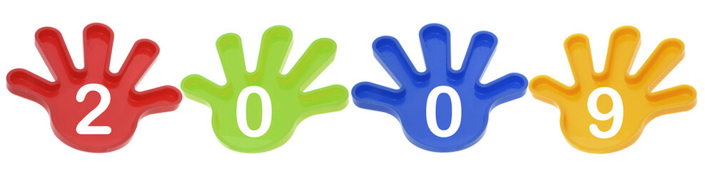 Toy Hands with 2009 on Isolated White Background